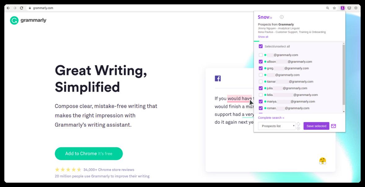 Find emails on websites