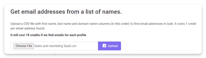 get email addresses from a list of names