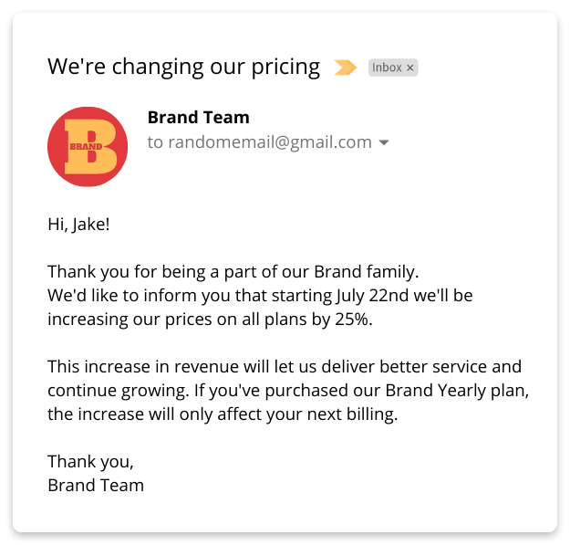 bad price increase letter example