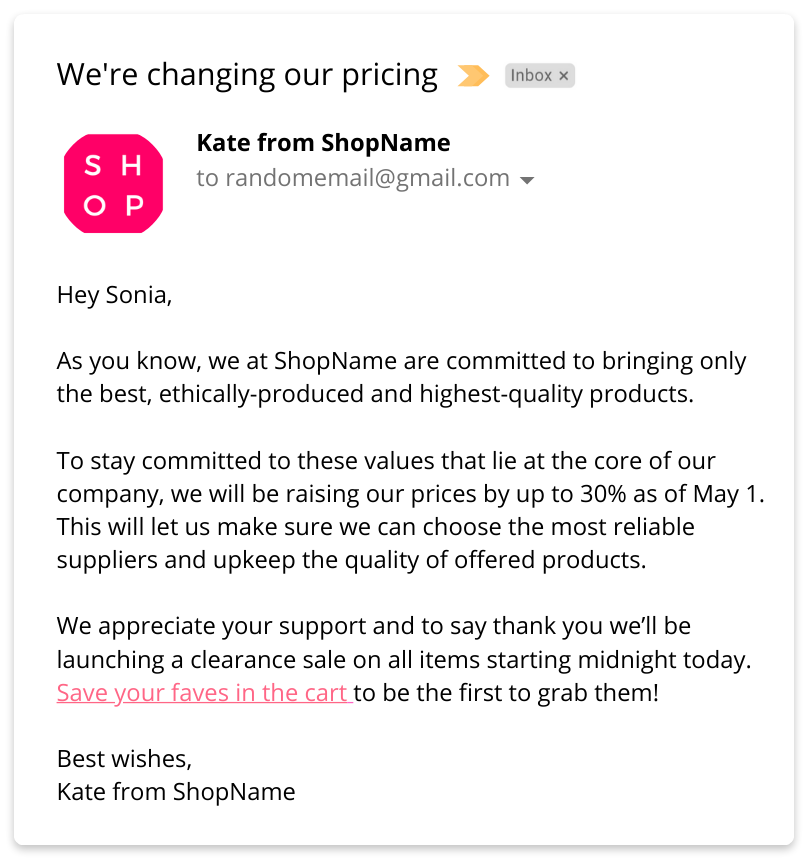 b2c price increase email example