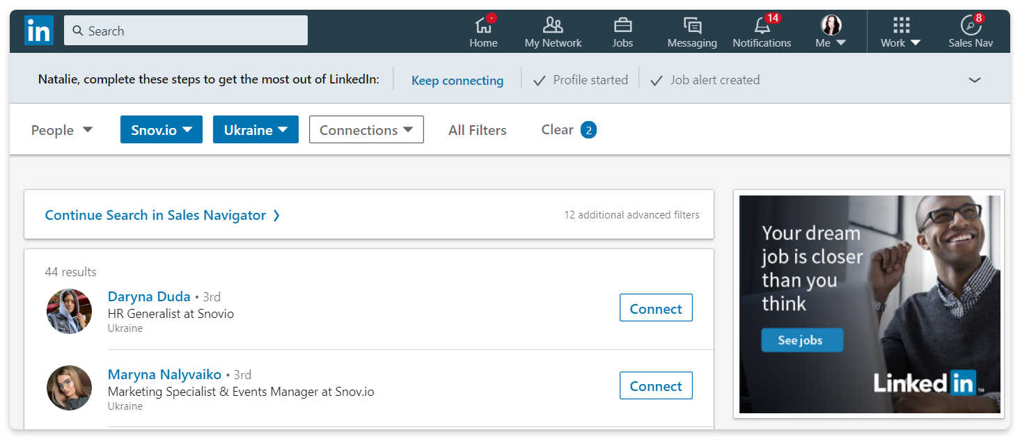 How to find emails on a LinkedIn search page