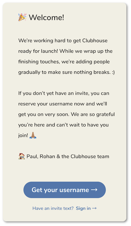 Joining Clubhouse app