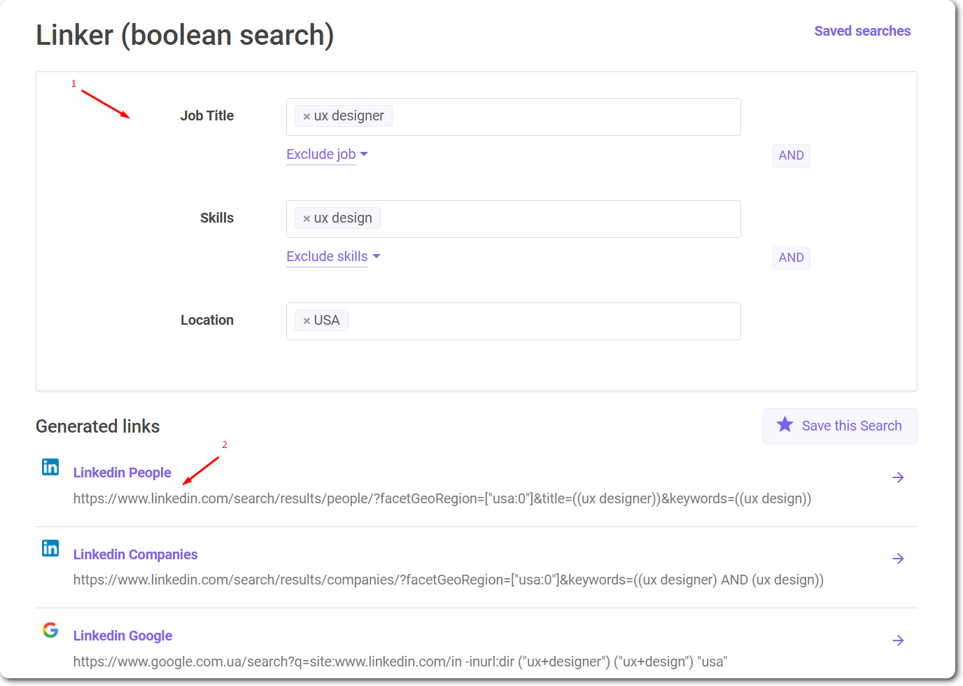 Boolean search with Snov.io