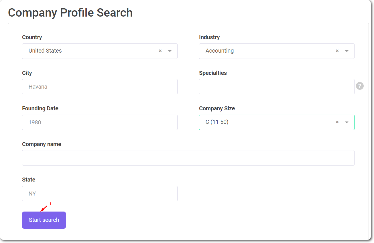 Company profile search with Snov.io