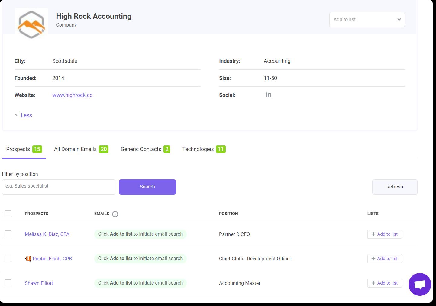 Company profile in Snov.io account
