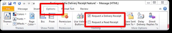 Outlook read receipt