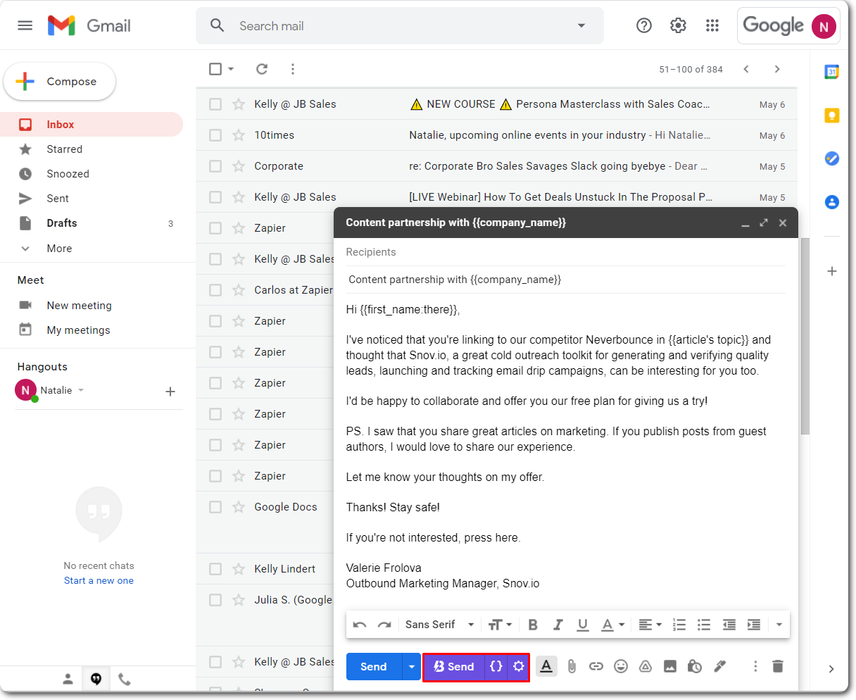 Sending emails with GBlast