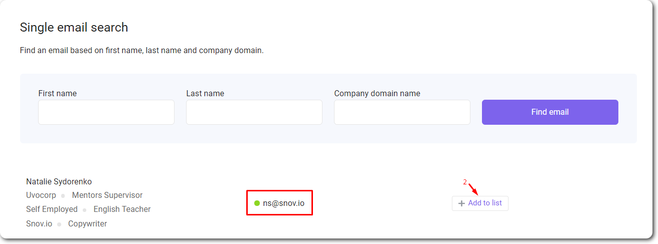 How to find a single email with Snov.io