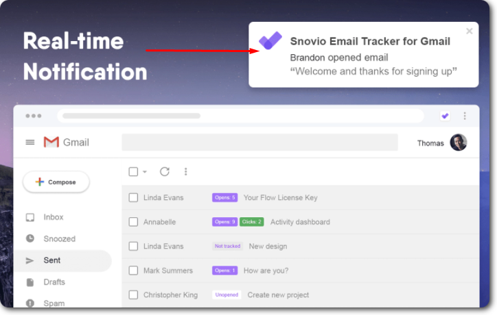 Email tracker notifications