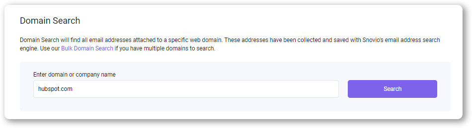 Domain search with Snov.io