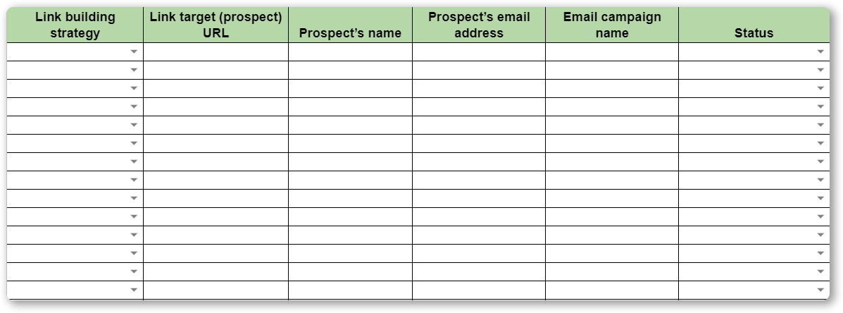 Worksheet for tracking performance of link building outreach campaigns
