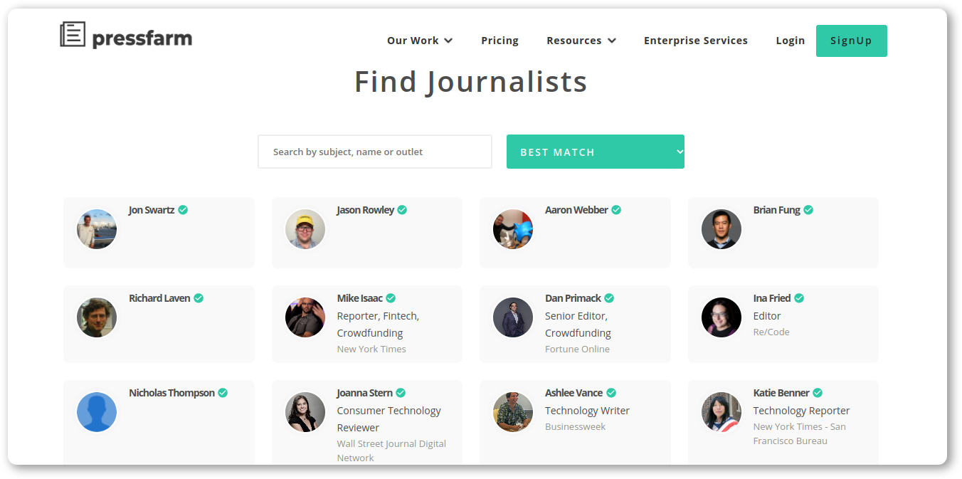 How to find contacts of media employees with Pressfarm
