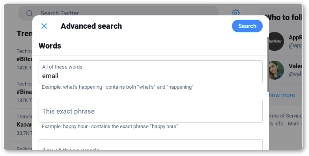 How to find someone using Twitter Advanced Search