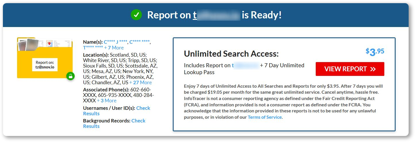 Infotracer reverse email lookup tool