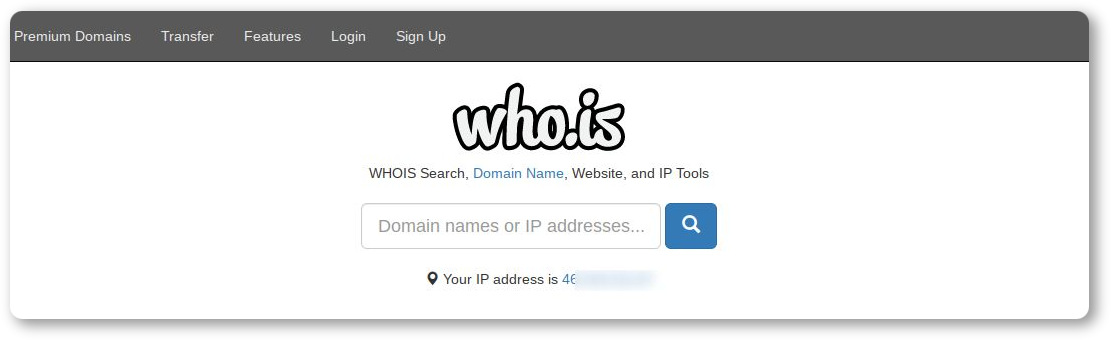 Email reverse lookup by domain name