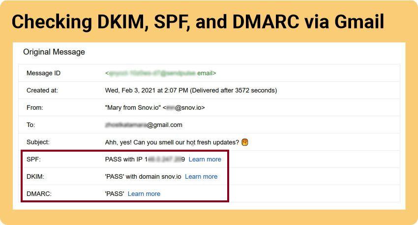 DKIM, SPF, and DMARC check via Gmail