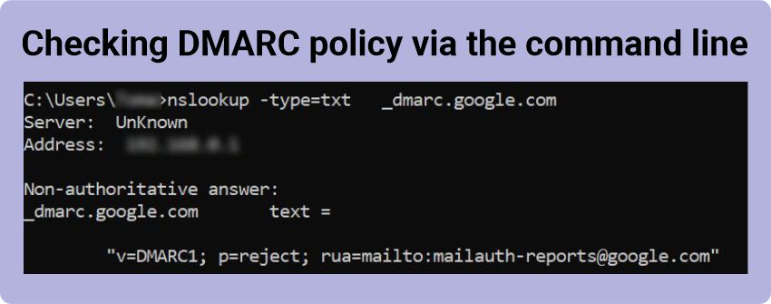 DMARC policy check
