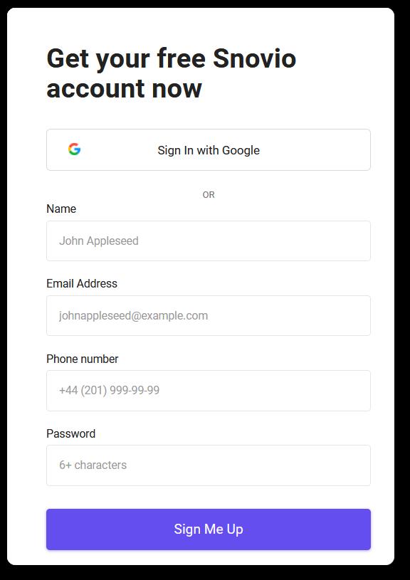 Snov.io registration form